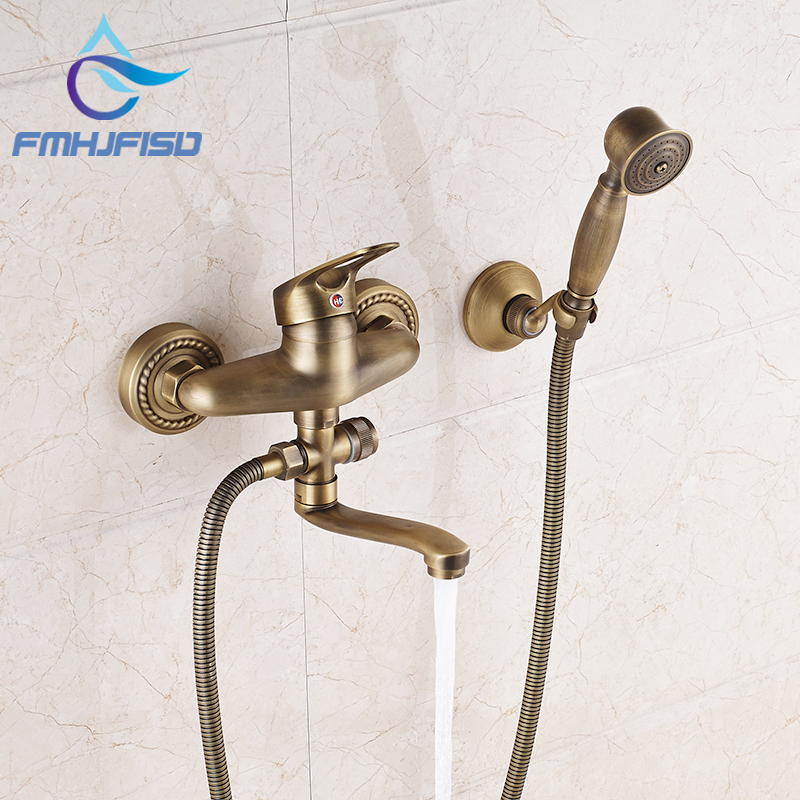 Antique Brass Wall Mounted Bathroom Shower Mixer Faucet W/ Long Tub Spout antique brass wall mounted bathroom copper toilet paper roll holder aba079