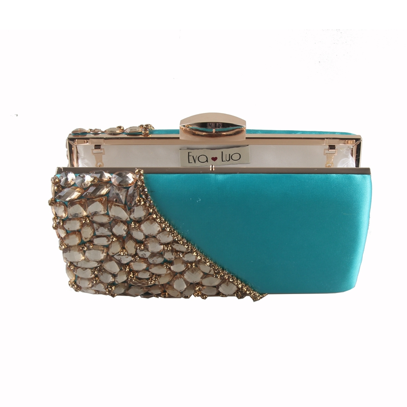 7a2ba7898d EB738 Custom Made Turquoise Blue Gold Crystal Evening Bag Clutch ...