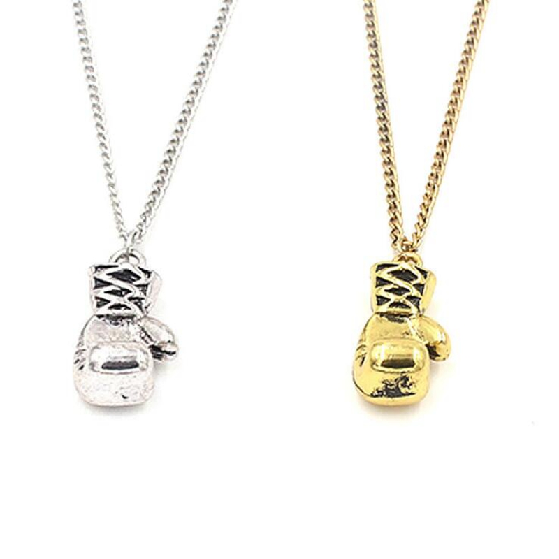 08d7f552a1a7 6Pcs Lot Ancient Silver Gold Fitness Boxing Gloves Charm Pendant 45cm Chain  Short Choker Necklace Sports Couple Jewelry H531