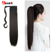 One Piece Ponytail Clip In Hair Extensions Hairpiece Binding Pony Tail Extension for Girl Lady Woman Natural Black AOSIWIG(China)