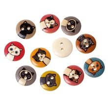 100Pcs Round Mixed Cartoon Cats Wood Sewing Buttons 2 Holes Wooden Ornaments Scrapbook Making 15mm
