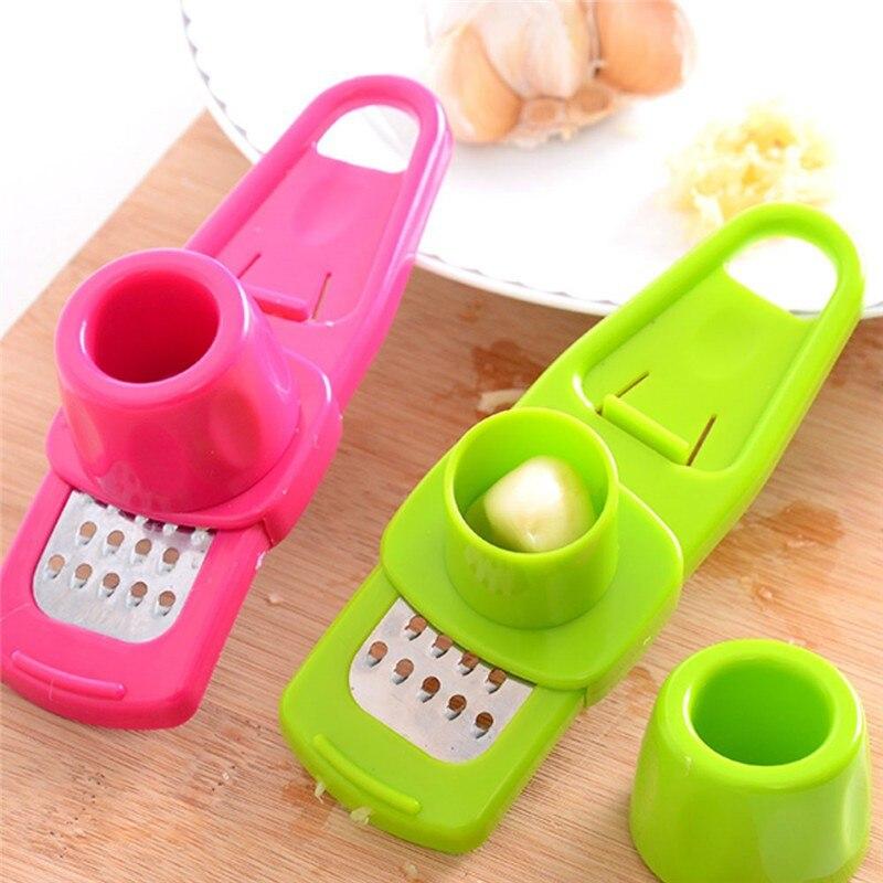 2018 Multifunction Plastic+Stainless Steel Garlic Press Mini Ginger Grinding Grater Garlic Crusher Peeler Shredder Kitchen Tool