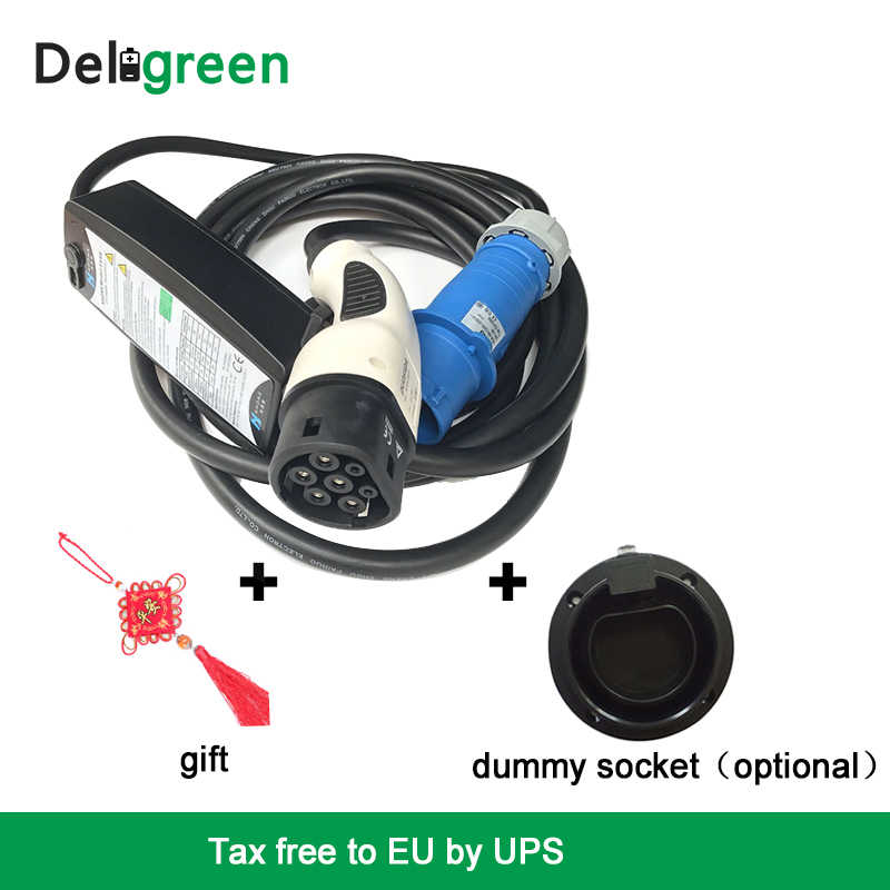 32A Type2 level2 DC Fast EV Car charger Adjustable Blue Red cee EV charging Controller WallBox For EV