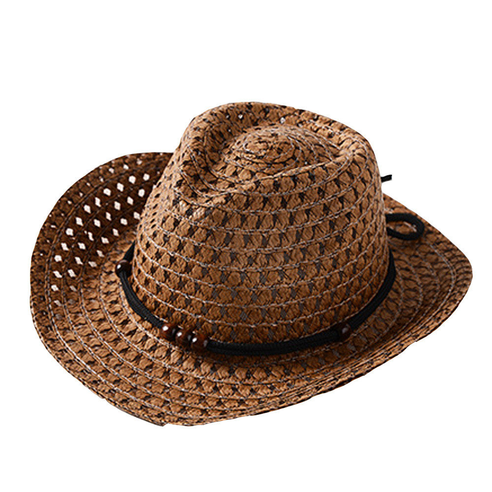 1Pcs Casual Men Straw Solid Color Panama Hat Handmade Cowboy Cap Travel Sunhat