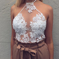 Sexy Hollow Out Halter Lace Stitching Summer Beach Tank Tops Backless Zipper Off Shoulder Embroidery Patchwork Fashion Tops