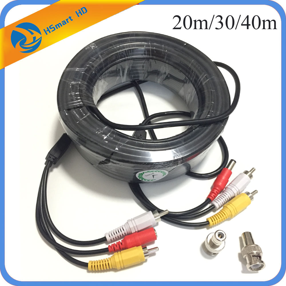 150 Feet 30m 20m Audio Video Power Security Camera Cable with RCA BNC  Adaptor Power Cable for Security Mic Camera Use DVR CCTV maudio