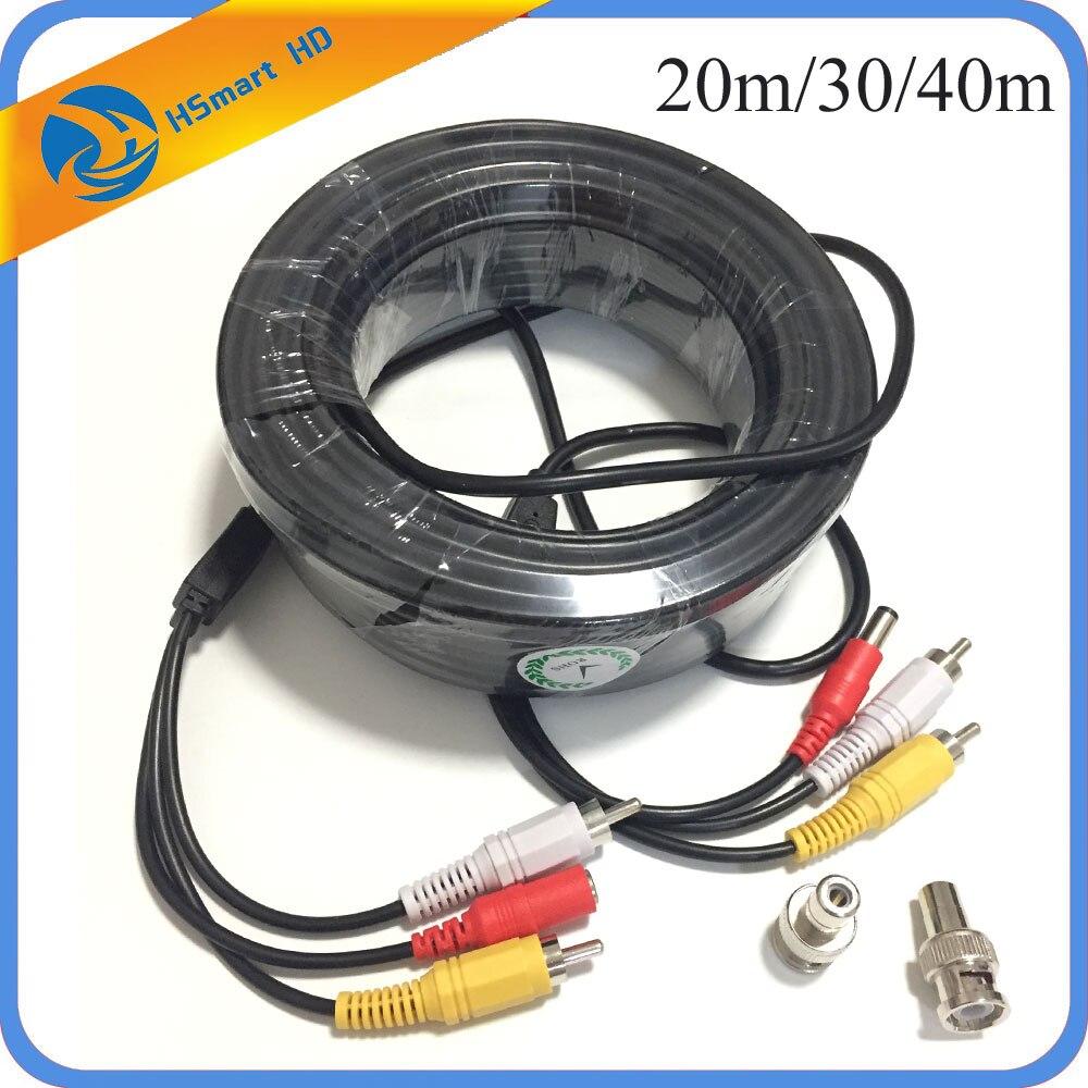 150 pés 30m 20m cabo de câmera de segurança de vídeo de áudio com adaptador rca bnc cabo de alimentação para câmera de segurança mic uso dvr cctv