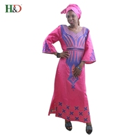 H D 2017 New Design Embroidery African Dresses For Women Bazin Riche 100 Cotton Cloth With