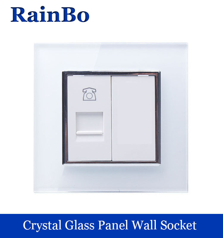 rainbo brand Wall Telephone Outlet  Crystal Glass Panel Telephone Socket Telephone Phone jack with Plug Manufacture A18TPW/B manufacturer all copper panel internet and telephone jack with 16a 3 pin pop up floor socket electrical outlet