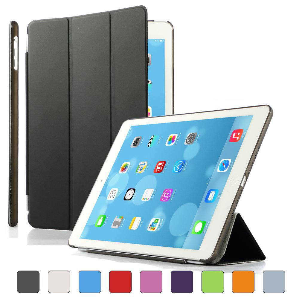 GOOJODOQ Leather Smart Front Case Cover for ipad Air 1 2 + Transparent Clear Back Case retina Sleep Wake Up Features scolour hot soft gel tpu skin silicone back case cover silk slim clear transparent smart back cover for ipad mini 1 2 3 retina