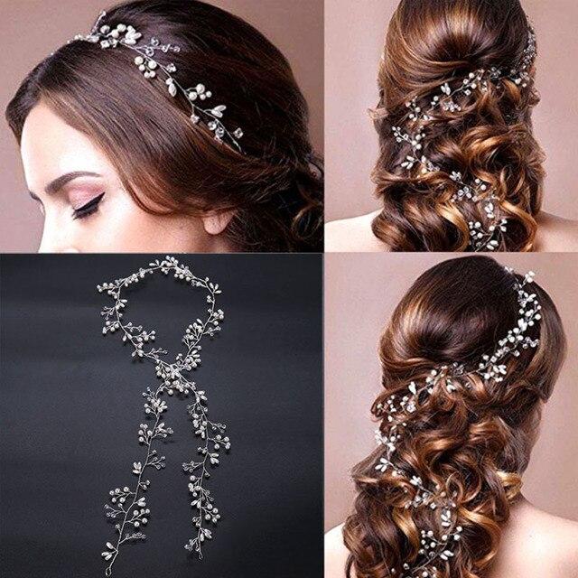 50 CM Long Headbands Crystal Pearl Wedding Hair Accessories Braid Jewelry Bridal