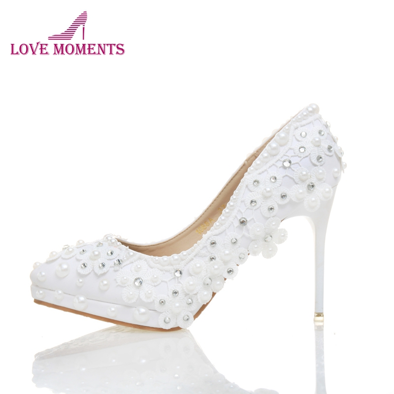 White Lace Wedding Shoes Women Party Prom High Heel Shoes Pointed Toe Thin Heels Bridesmaid Shoe Female Pumps Bride Dress Shoes