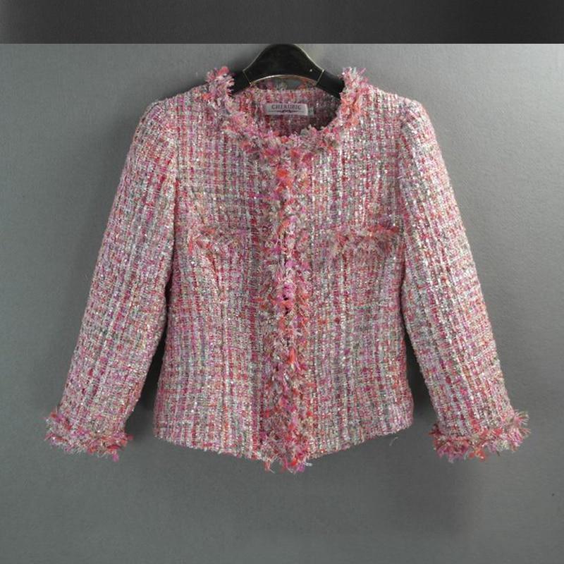 Pink tweed jacket sequin 2017 autumn / winter women's woolen ...