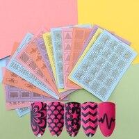 15 Sheets Adhesive Nail Vinyls Hollow Nail Art Manicure Stencil Stickers