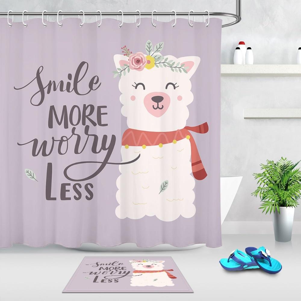Alpaca Shower Curtain with waterproof bathroom mat