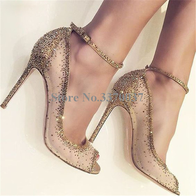 Spring New Fashion Women Open Toe Gold Bling Bling Diamond Pumps Gold  Crystal Ankle Strap High Heels Rhinestone Wedding Shoes 0384d3dd368f