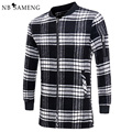 2017 New Fashion Black White Plaid Long Woolen Coat Men Slim Autumn Thin Overcoat Worsted Casual Simple Wool Jacket 13M0548