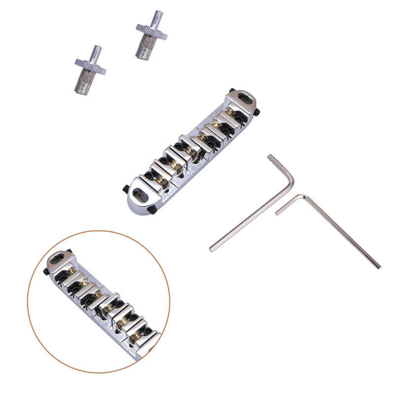 Roller Saddle Locking Tune-O-Matic Chrome Guitar Bridge For Guitar