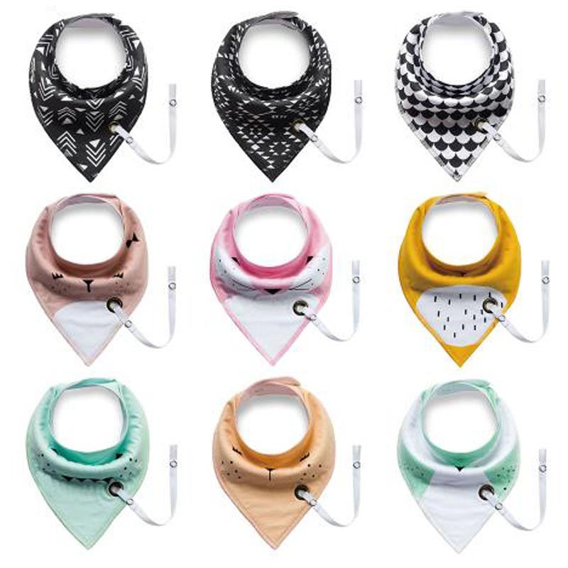 Baby Bibs with Pacifier Chain Newborn Adjustable Waterproof Cotton Infant Toddler Triangle Feeding Cloths Saliva Towel