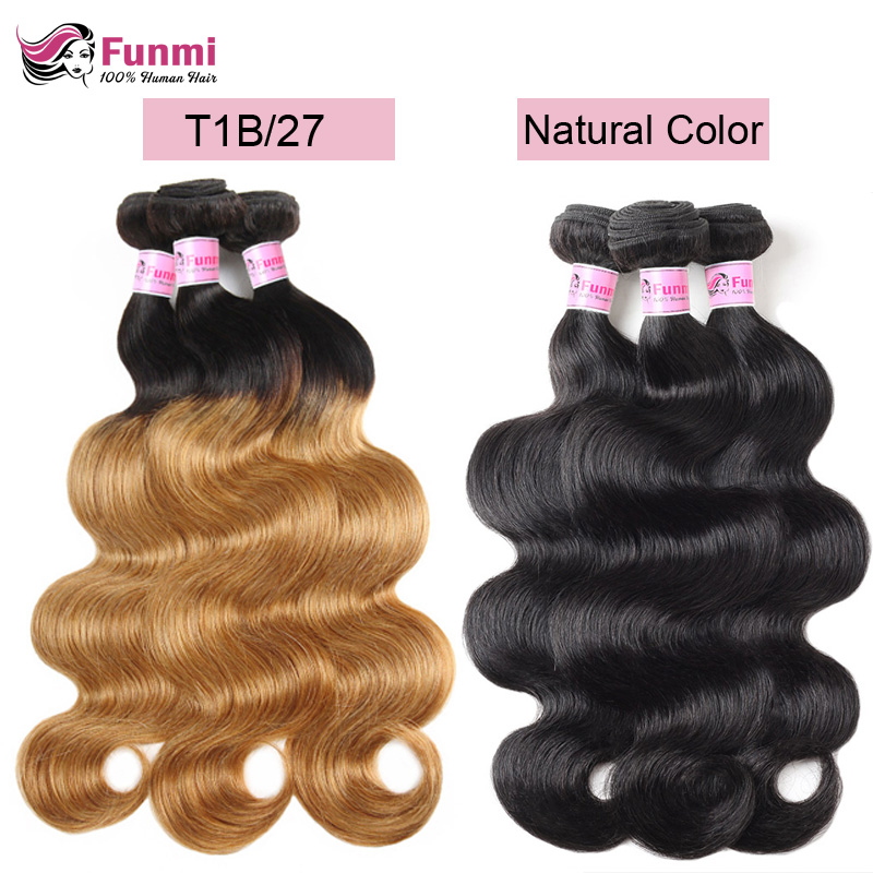 Ombre Brazilian Virgin Hair Body Wave Bundles 1/3/4 Pieces Ombre Body Wave Human Hair Light Brown Natural Color Funmi Hair Weft