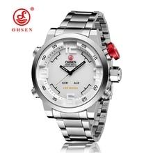 Orologio Uomo OHSEN Mens Watch LED Date Day Digital Watch Men Male Man Dual Time Zone Full Steel Band Quartz Business Wristwatch