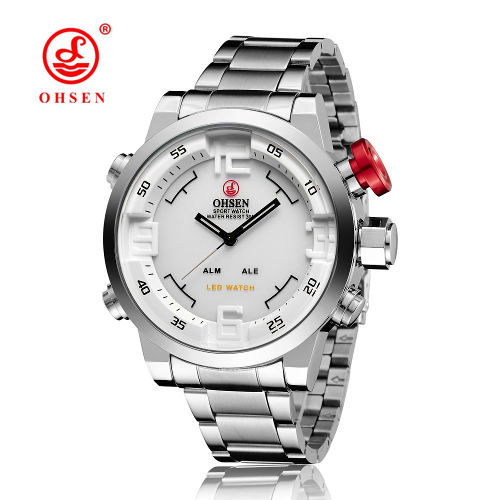 Orologio Uomo OHSEN Mens Watch LED Date Day Digital Watch Men Male Man Dual Time Zone Full Steel Band Quartz Business Wristwatch iron man digital led steel band digital quartz wrist watch for man