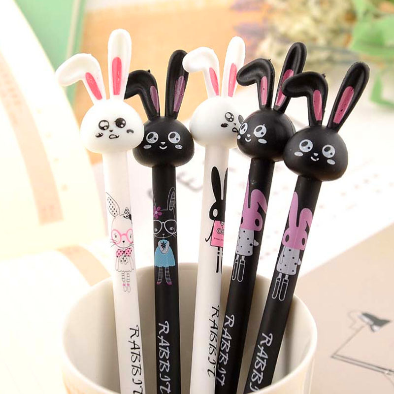 4pcs/lot Cute Kawaii Long Ears Rabbit Cartoon Plastic Gel Pen for Girl Student Gift Stationery Office School Supplies