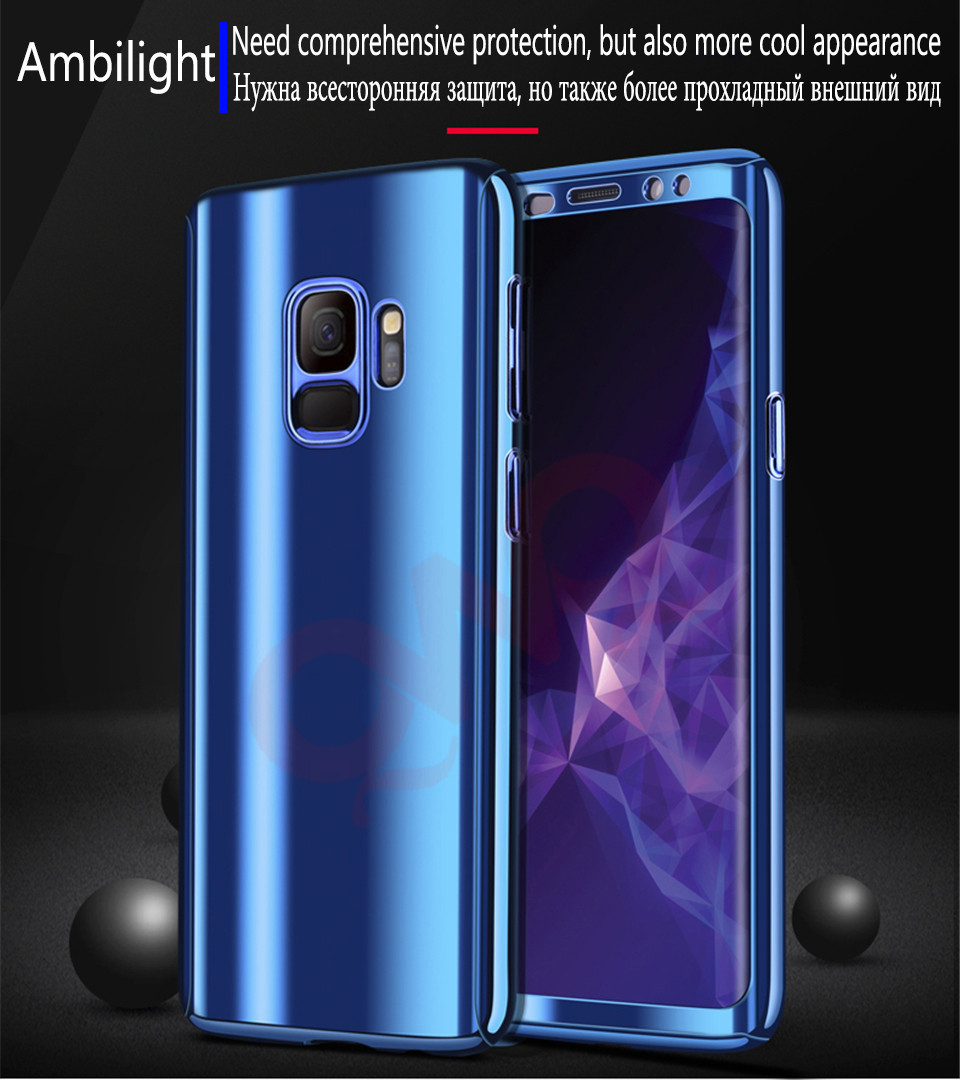 360 Plating Mirror Phone Cases For Samsung Galaxy S8 S9 Plus Case Full Protective Cover For Samsung S7 Edge Note 8 Shell