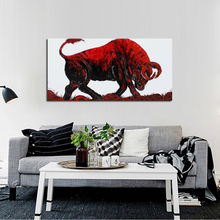 100%Handpainted Abstract Art Bullfighting Oil Painting On Canvas Animal Picture Wall Home Decor As Unique Gift