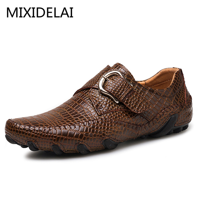 Brand Men Loafers Spring and Autumn Men Casual Shoes Genuine Leather Driving Shoes Crocodile Texture Mens Flats Shoes Plus Size