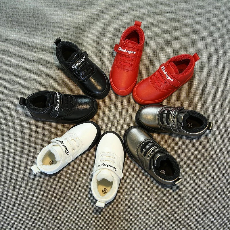 ФОТО 2016 brand designer waterproof leather warm plush school girl fashion sneakers children flats Winter white shoes kids boys boots