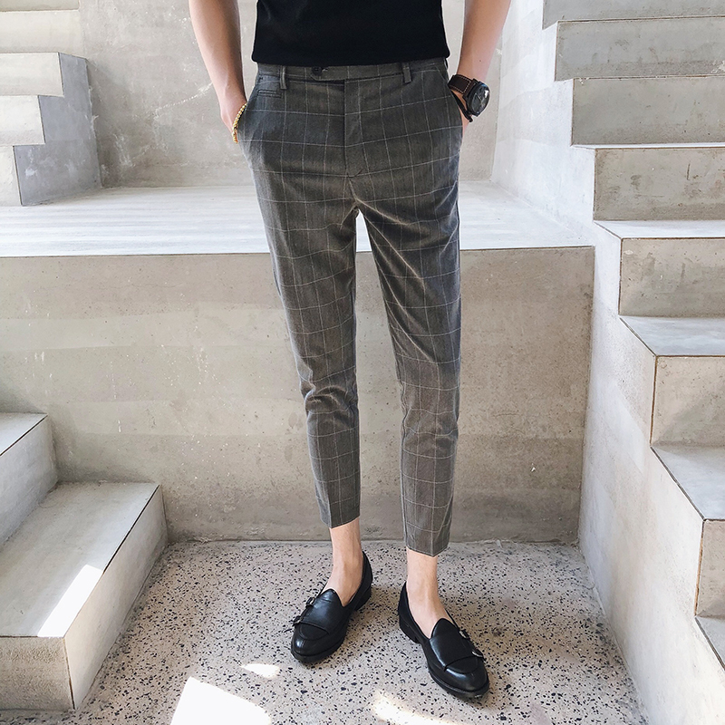 2018 New Summer England Gentleman Trend Lattice Nine Points Male Casual Pants Fashion Classic Slim Personality
