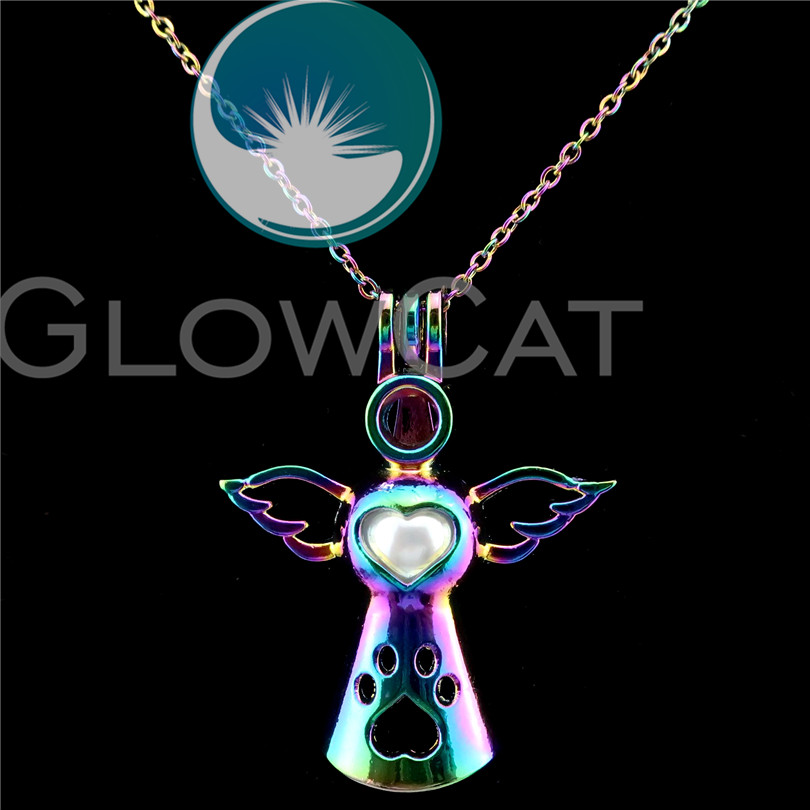C572 Rainbow Color Angel Pearl Cage Necklace