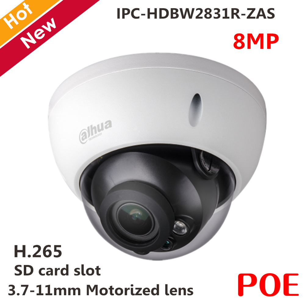 Dahua English Version 8MP POE IR Dome IP Camera IPC-HDBW2831R-ZAS Micro SD Card Slot Up To 128GB 3.7~11mm Variable Lens