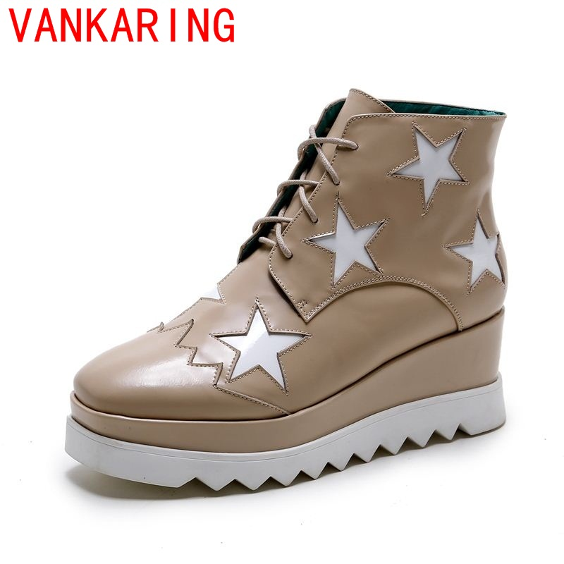 ФОТО VANKARING shoes 2017 women ankle boots street style leisure lace up square toe high quality short plush fashion riding boot