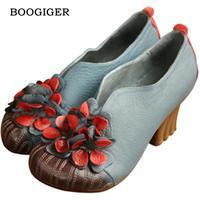 Designer Women Blue Pumps Retro Style Ladies 6CM High Heels Slip On Black Flower Pumps Handmade
