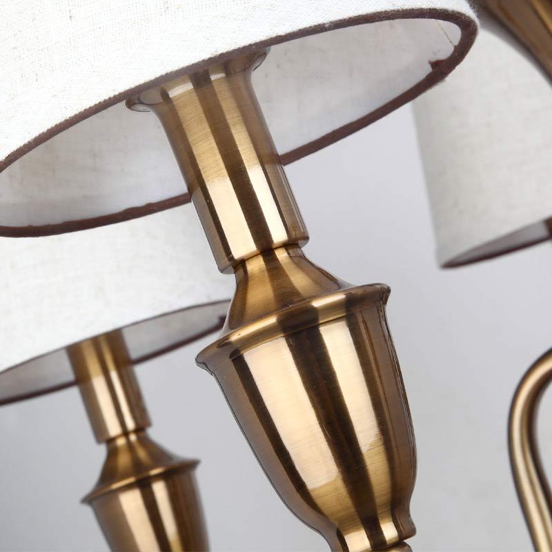 Vintage Leuchten Amerikanischer Kronleuchter Treppenhaus Esszimmer Wohnzimmer Lampe Anti Messing Eisen Weiss Stoff Lampenschirm E14 110 240 V In