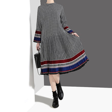Johnature Women Clothing New Casual Pleated Dress New Spring Flare Sleeve Hit Color O-Neck Loose Pullover 2019 Plaid Dresses
