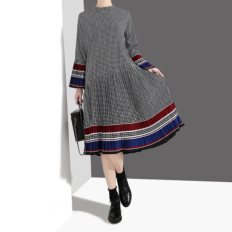 Johnature Women Clothing New Casual Pleated Dress New Spring Flare Sleeve Hit Color O-Neck Loose Pullover 2020 Plaid Dresses