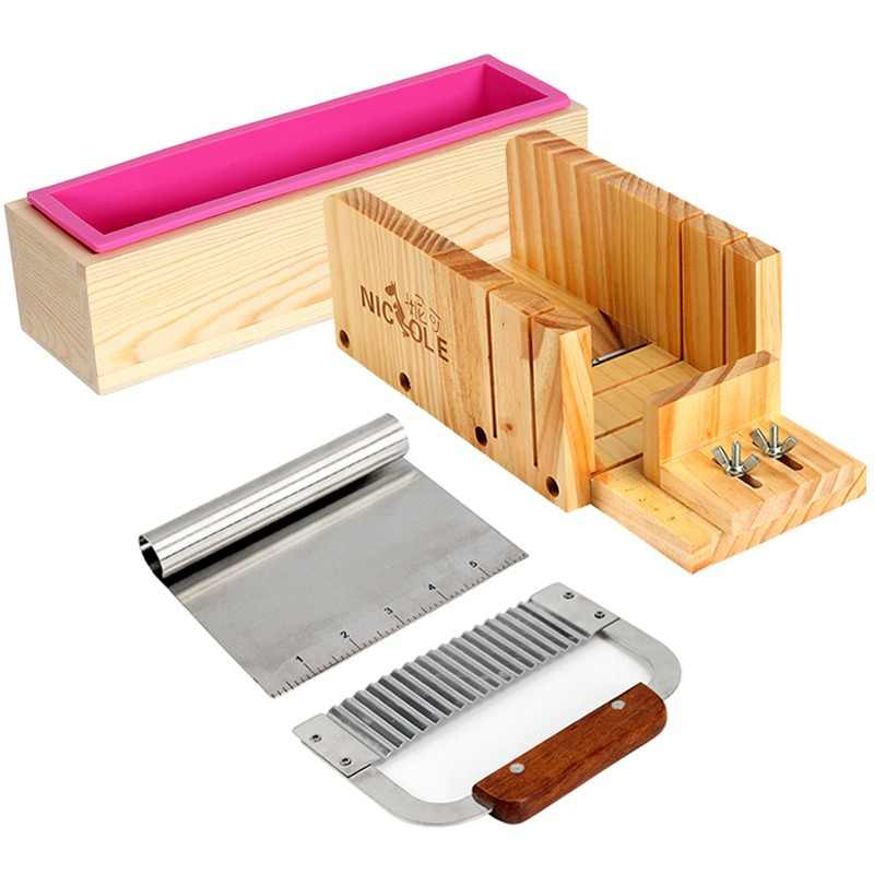 Nicole Silicone Mold Soap Making Tool Set-4 Adjustable Wooden Loaf Cutter Box and 2 Pieces Stainless Steel Blades