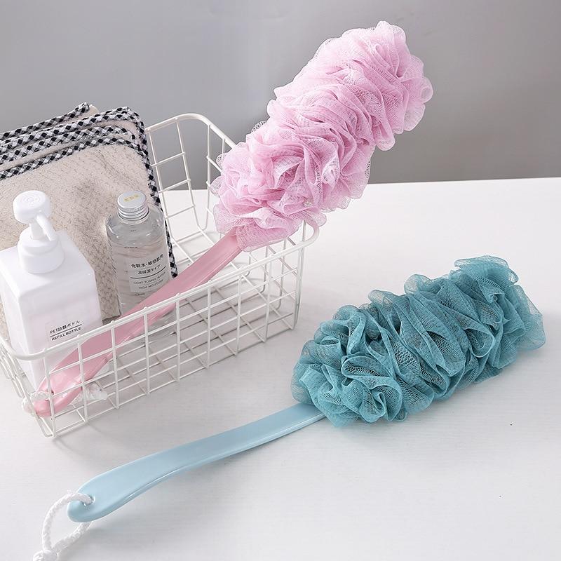 Large Long Handle Bath Sponge Brush For Shower Flower Soft Back Scrubber Body Cleaning Mesh Bathing Ball Shower Accessories