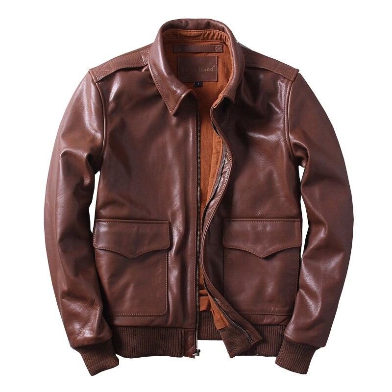 HARLEY DAMSON Dark Brown Men USAF A2 Pilot Leather Jacket Plus Size XXXXXXL Genuine Thick Cowhide Aviator Leather Coat