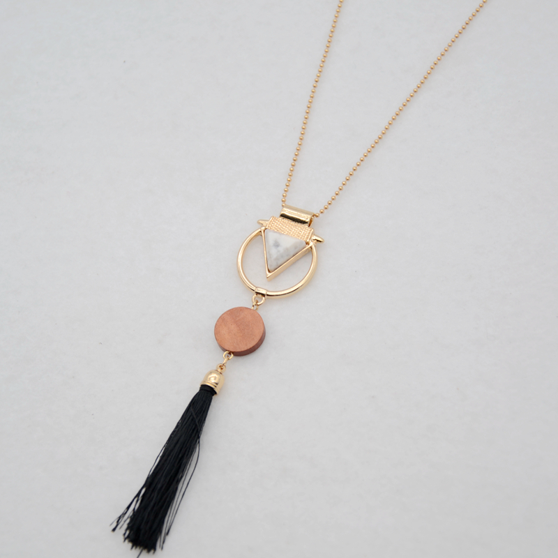 Fashion Wood Disc Pendant Triangle Marble Stone Geometric Circle Line Black Tassel Pendant Necklace for Women