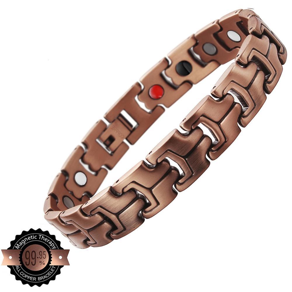 LITTLE FROG Men Copper Bio Magnetic Bracelet Healthy Energy Bracelets Bangles Health Jewelry Red Copper Wristbands