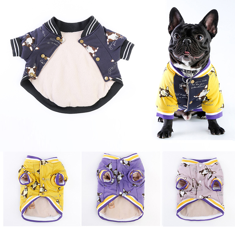 Autumn Winter Pet Dog Clothes Pug French Bulldog Clothes Cartoon Print Puppy Shirt Thickening Warm Coat Jacket Dog Pet Clothing Собака