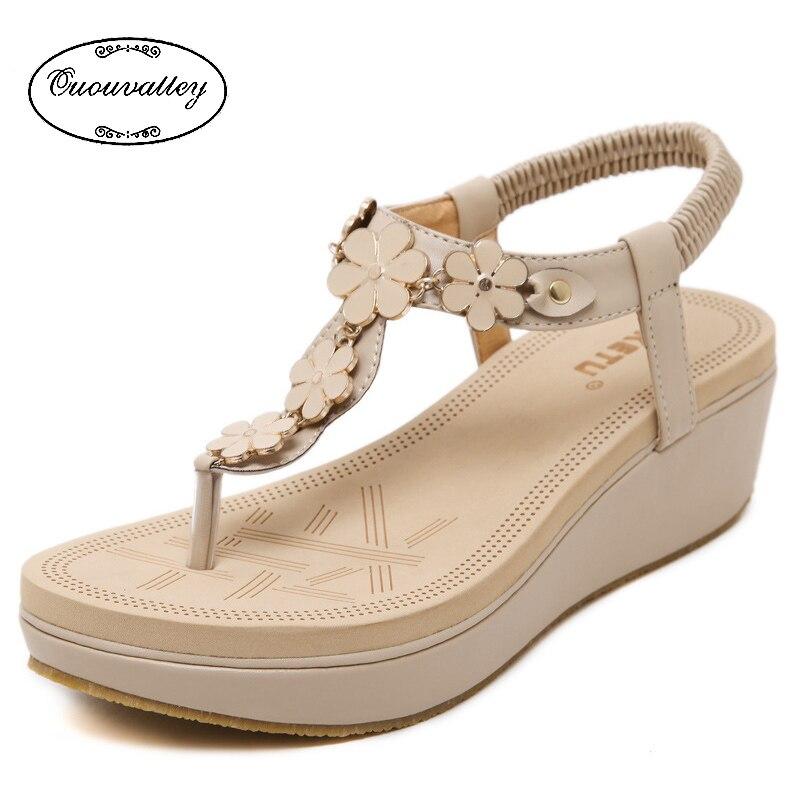 New Bohemia Wedge Women Sandals Summer Beautiful flowers ...