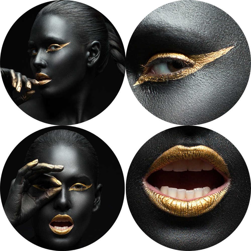 섹시한 여자 블랙 현대 벽 아트 캔버스 인쇄 황금 입술 캔버스 아트 페인팅 아프리카 소녀 포스터와 인쇄 홈 벽 장식