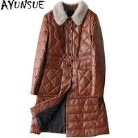 AYUNSUE 2018 Real Sheepskin Coat For Women Genuine Leather Jacket Long Winter Women's Down Jackets Mink Fur Collar 27290 WYQ1195
