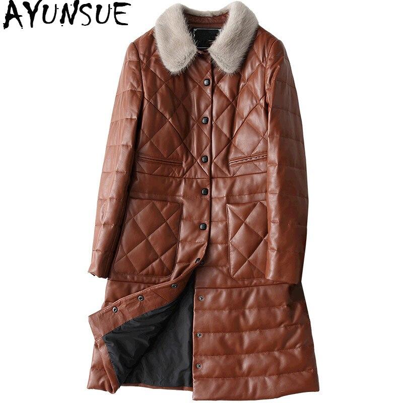 AYUNSUE 2019 véritable manteau en peau de mouton pour les femmes veste en cuir véritable Long hiver femmes vestes en duvet de vison col de fourrure 27290 WYQ1195