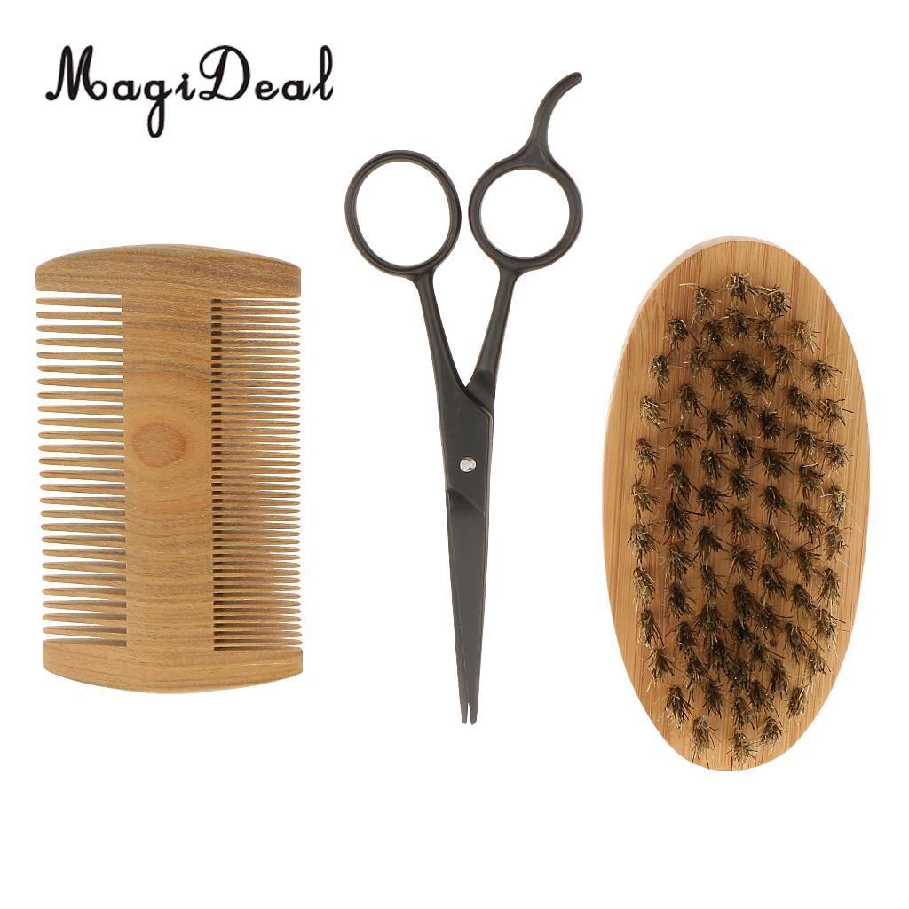 3Pcs Men's Beard <font><b>Bristle</b></font> <font><b>Shaving</b></font> <font><b>Brush</b></font> Verawood Comb Professional Hair Cutting Beard Hair Scissors Kit